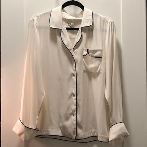 Rag and Bone cream with blue silk with  PJ top